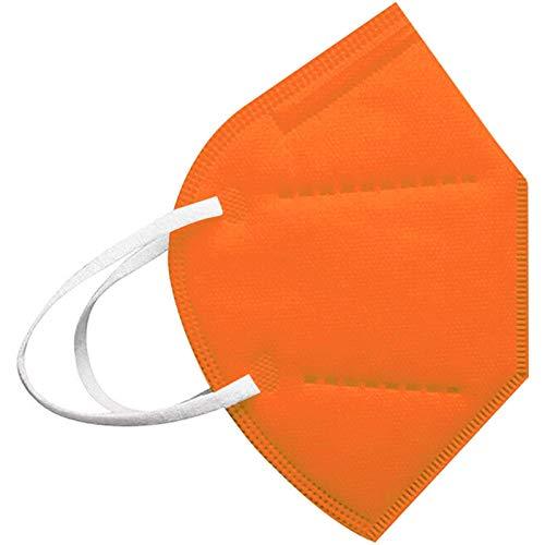 Modaworld 25 Stück Erwachsene, 5 Lagige Staubdicht Mund-Nasen Bedeckung Atmungsaktiv Stoff Bandana Halstuch Schals Mund-Nasen-Schutz (20Stücke, Orange)
