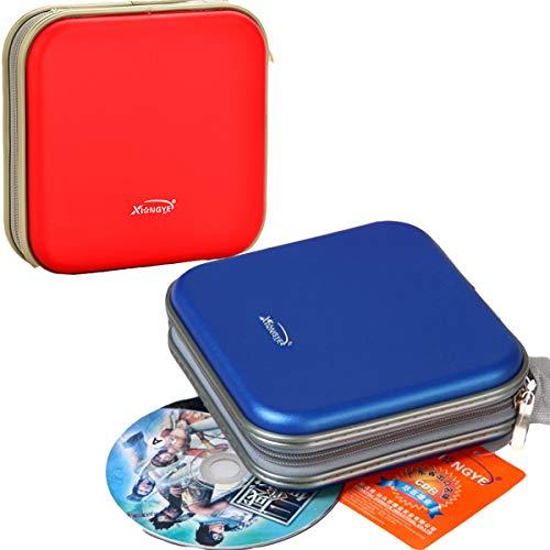 TANGGER 2 PCS Tragbare Tasche für 80 CD DVD Blu-ray VCD Discs Halter Klein,Jungen und Mädchen CD Organizer Kunststof Tasche für Auto,Blau und Rot CD Hüllen Tasche