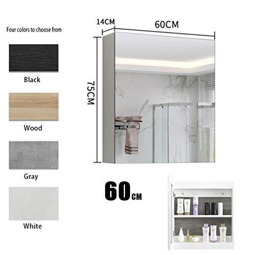 Massivholzspiegelschrank Wandlagerregal Wand Spiegel mit Ablage Schrank über dem Waschbecken Medizinschrank (Color : Wood, Size : 90 * 14 * 75cm)