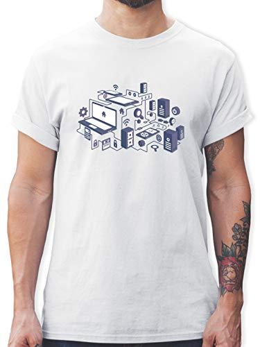 Nerds & Geeks - Netzwerk Design - XL - Weiß - Tshirt Herren Nerd - L190 - Tshirt Herren und Männer T-Shirts