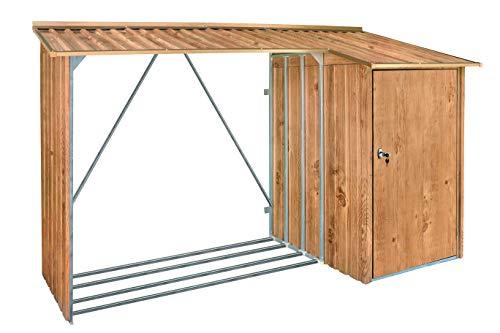 Duramax WoodStore Combo 8' x 3' with Side Closed Storage Room-Log Store BrownTrimmings Wood, Woodgrain/Brown