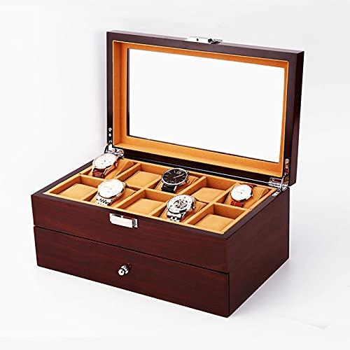 CHENMAO Caja de Reloj de Reloj de Madera de Alta Gama y Caja de Almacenamiento mecánico para Hombres y Mujeres, Caja de recolección, Cuadro de Pantalla de la Ventana de Doble Capa, 20 Tablas