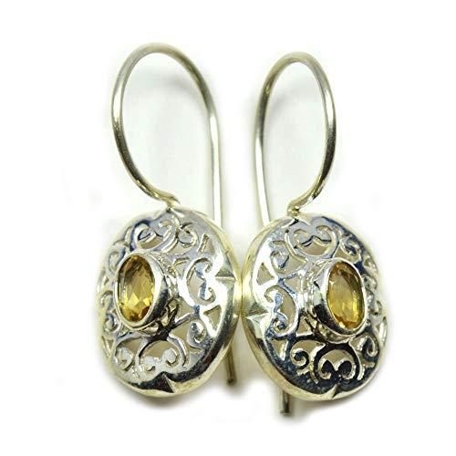 Gemsonclick - Pendientes de plata de ley con citrino amarillo natural y piedra natal de noviembre hechos a mano