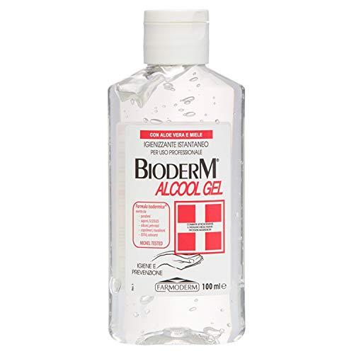 Bioderm Alcool Gel Igienizzante Mani 100 ml - Soluzione Alcolica per le Mani - Gel Detergente Mani Senza Risciacquo con Aloe Vera - Soluzione Igienizzante con Dispenser