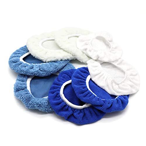 AUTDER 9 Inch & 10 Inch Car Polisher Pad Bonnet, Waxers Bonnet Set, Woollen+Cotton+Microfiber+Coral Fleece, 2 Pcs for Each, Pack of 8 Pcs
