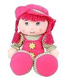 Muñeca de trapo de cuerpo suave de 20 pulgadas con sombrero y cola de caballo – Rosa oscuro – Muñeca...