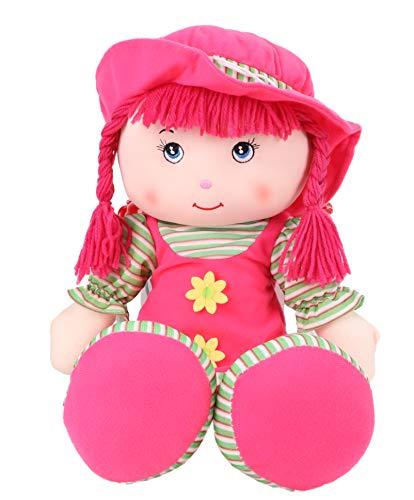 Muñeca de trapo de cuerpo suave de 20 pulgadas con sombrero y cola de caballo – Rosa oscuro – Muñeca suave – Juguetes para niñas