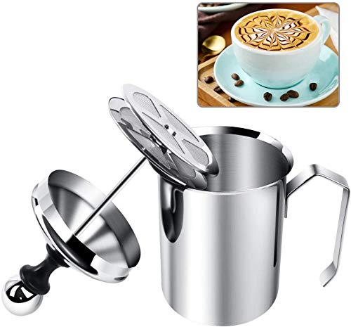 Yijiaoyun Milchaufschäumer Manuell, Milk Frother Mit Kaffee Latte, Milchaufschäumer Induktion Edelstahl Double Mesh (500ml, Silber)