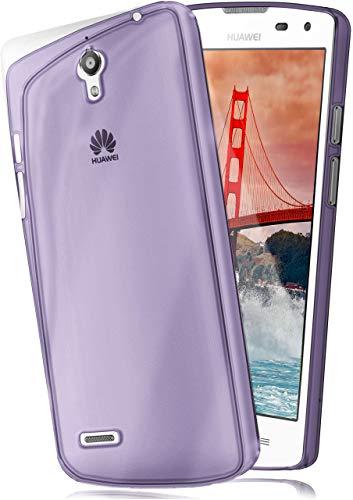 moex Aero Hülle kompatibel mit Huawei Ascend G610 - Hülle aus Silikon, komplett transparent, Klarsicht Handy Schutzhülle Ultra dünn, Handyhülle durchsichtig einfarbig, Lila