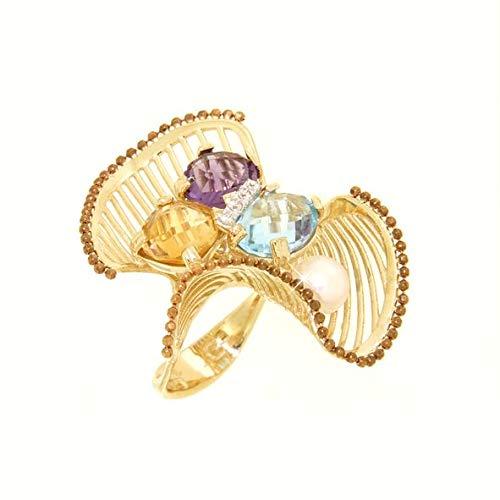 Gabriela Rigamonti Jewels-Anello Oro giallo 14kt con gemme semipreziose,Topazio,Citrino.Ametista con contorno in oro colore marrone e zirconi.