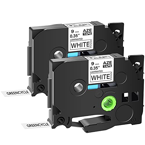 """GREENCYCLE Compatible for Brother TZe-221 TZ 221 TZe221 TZe 221 Black on White Label Tape 9mm (3/8"""") for Ptouch PTD200 PTD210 PTD215E PTD400 PTD600 PTH100 PTH110 PTP300BT PTP700 PTP750W (2 Pack)"""