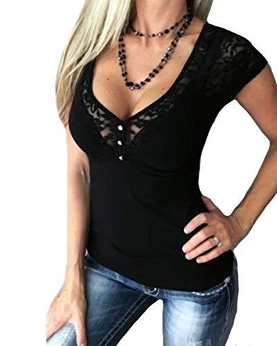 YOINS Oberteile Blusen Shirt Damen Langarmshirt Tops Sommer Crop Tops für Damen Sexy Spitze Einfarbig-S-Dunkel Blau