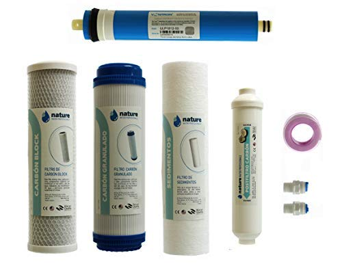 NATURE WATER PROFESSIONALS Pack de 4 Filtros Osmosis Inversa Universales y Membrana...
