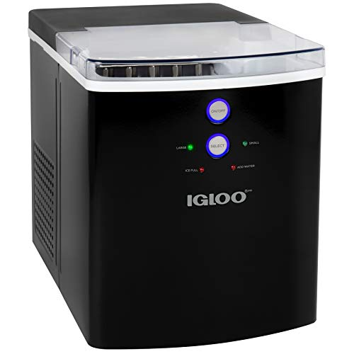 Igloo ICEB33BK Large-Capacity Automatic Portable Electric Countertop Ice Maker Machine, 33 Pounds in 24 Hours, 9 Ice Cubes Ready in 7 minutes, With Ice Scoop and Basket, Black