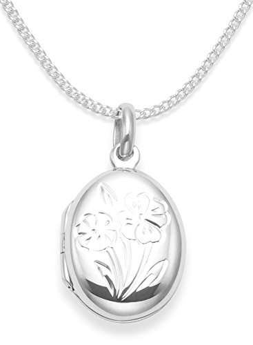 Heather Needham 925 Sterling Silver Children's Locket Necklace on 15' Silver Chain - opening locket with flowers - Size: 17mm x 14mm. Quality Gift Box 8011/15/B54.