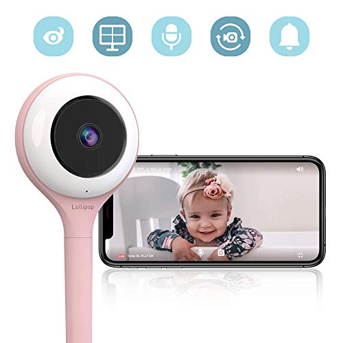 Lollipop HD WiFi Video Baby Monitor (Cotton Candy)- Supports 2 Cameras and Up, Night Vision, Noise & Crying Detection, 2-Way Talk Back, Wall Mount Included- Baby Boy Girl Shower Gift US Monitors