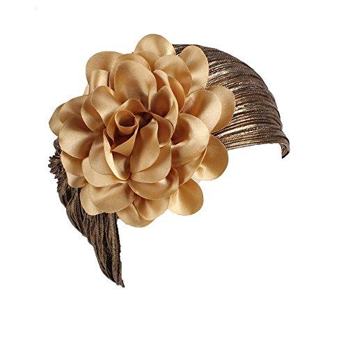 SEWORLD Karneval Carnival Fasching Frauen Retro Große Blumen Hut Turban Brim Cap Elastische Stirnbandkappe für Damen(Gold)