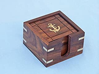 """Hampton Nautical  Wooden Anchor Coasters with Rosewood Holder (Set of 6), 3"""""""