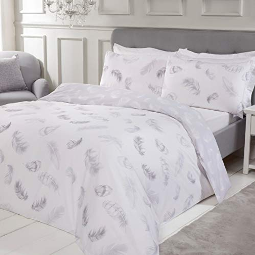 Sleepdown Feather Print Silver Reversible Soft Easy Care Duvet Cover Quilt Bedding Set with Pillowcases - Super King (220cm x 260cm)