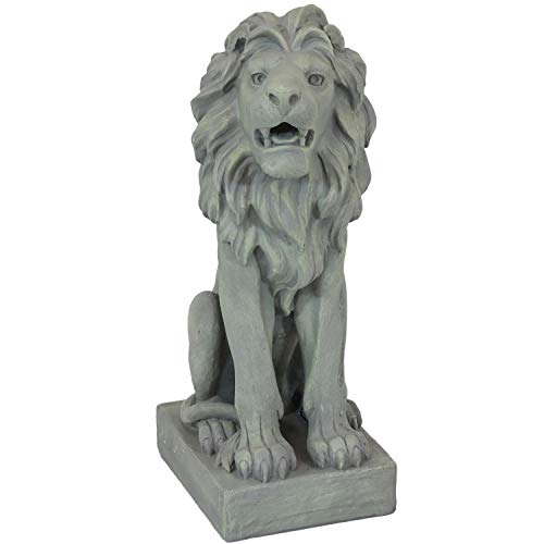 Sunnydaze Outdoor Statue Noble Beast Sitting Lion - Concrete Garden and Lawn Sculpture - Decorative Animal Guardian Sentinel for Driveway, Porch and Patio - 30-Inch
