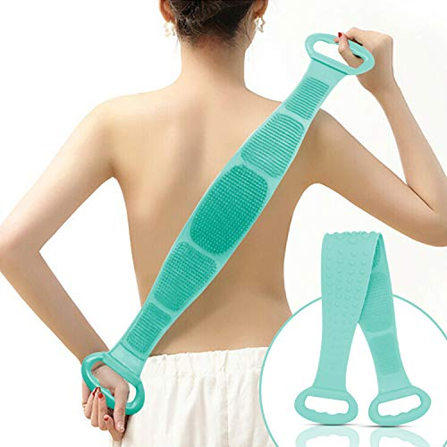 Silicone Bath Body/Skin Brush Belt,Exfoliating/Exfoliator Body Back Scrubber, Back Scrub Easy to a Clean,Lathers Well,Eco Friendly,Long Lasting for Women & Men Shower Dual Use (Light Green)