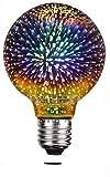 DINOWIN Bombilla clásica 3D Edison, Vintage Bombilla decorativa con fuente de luz LED de fuegos artificiales 4W E27 AC85-265V (Plata, G80)
