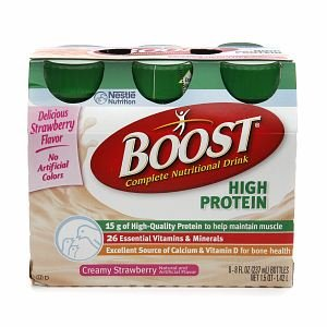 Boost High Protein Complete Nutritional Drink, Bottles, Creamy Strawberry, 6 ea