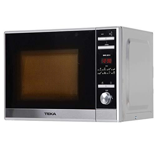 Teka - Microondas Grill, Modelo MWE 225 G, 20 Litros, 5 Niveles de potencia, 700-1000 W, 8 menús, Acero Inoxidable, Cristal Gris y Negro, 25 x 44 x 34 cm