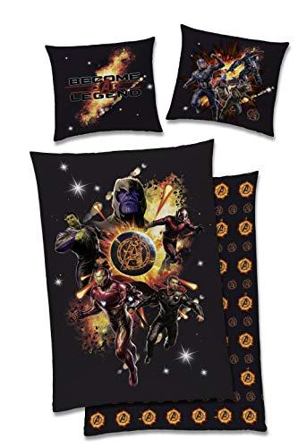 Marvel Wende Bettwäsche-Set Avenger-s Endgame 135x200cm + 80x80cm, 100prozent Baumwolle mit Reißverschlus Kinder-Bettwäsche schwarz