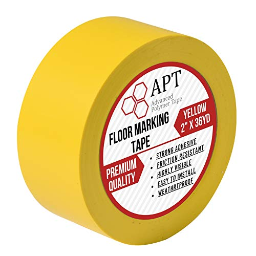 APT Yellow Floor Marking Tape, Social Distancing, Safety Tape and Dance Floor Tape, Gym Floor Tape (2 inch x 33yds)