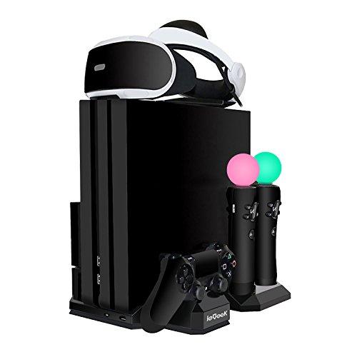 ieGeek Verbesserte PSVR Ladestation, PS4 Pro / PS4 Slim / PS4 [All-in-1] Vertikaler Standfuß Kühler Lüfter, Ladestation für 2 PS Move und 1 PS4 Controller, Halterung für PlayStation 4 VR Brille
