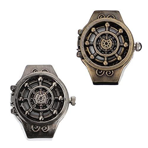 UKCOCO 2 Piezas de Reloj de Anillo Retro Reloj de Dedo Unisex Reloj de Anillo para Hombres Y Mujeres Reloj de Dedo Reloj de Anillo Giratorio