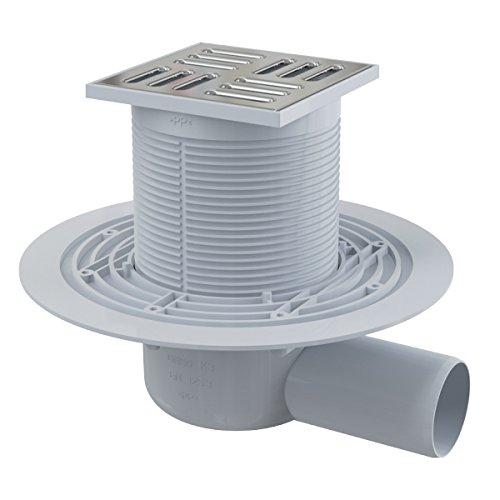 Siphon de sol en plastique - 105x105/50 mm - sortie verticale – grille inox, siphon humide