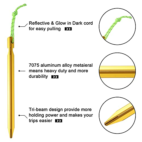 Ideaman 12 Pack Tent Stakes Ultra-Light 7075 Aluminum Tent pegs Suitable for All Kinds of Tent