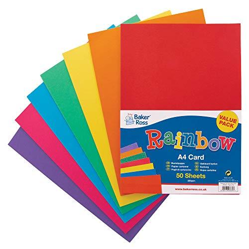 Baker Ross AV535 A4 regnbågsfärgat kort (220 gsm), perfekt för barns konst och hantverksaktiviteter, collage, modelltillverkning och mer (paket med 50), diverse