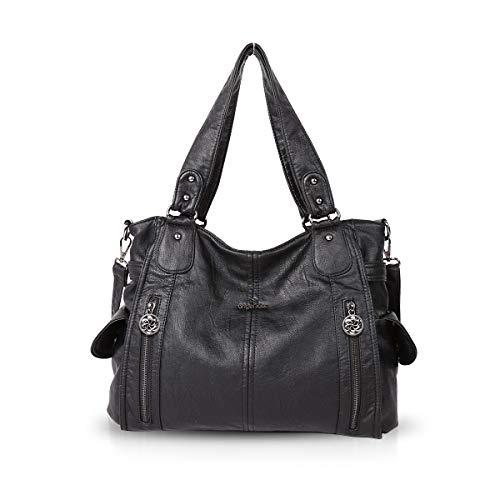 NICOLE & DORIS Schultertasche Groß Aktentasche Damen Stilvolle Sanft PU Leder Schick Shopper Handtasche Umhängetasche Tote Handtaschen Schwarz