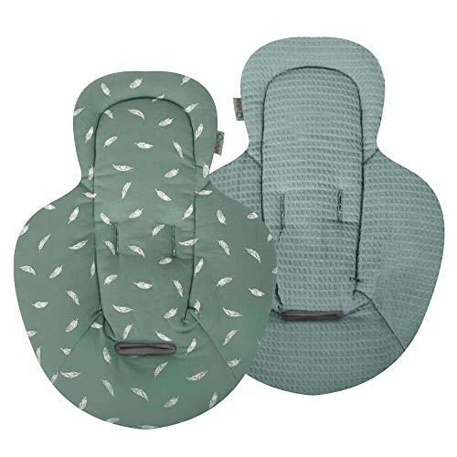 Ukje - Neugeboreneneinsatz kompatibel für Babywippe Mamaroo Jade Eukalyptus Waffelpiqué Und Weiche Öko-Tex Baumwolle 1 Stück Beidseitig verwendbar Maschinenwaschbar Angenehm Weich