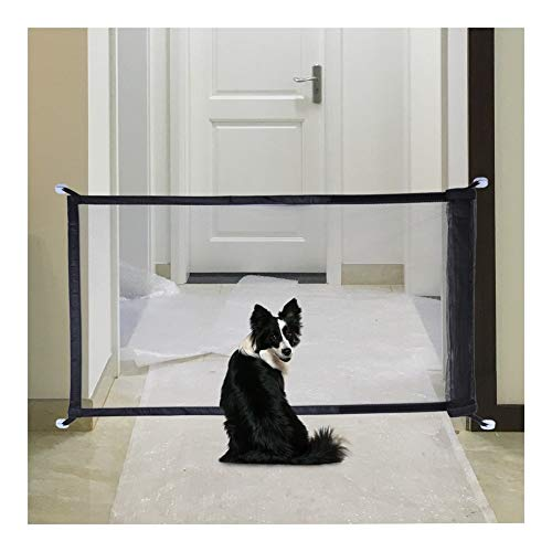 Versand Hund Gitterzäune Magic Gate Pet Tür Tor for Hunde Safe Guard Installation anpassen überall Pet Tor Dog Sicherheitskabine (Color : Black, Size : 110x75cm)