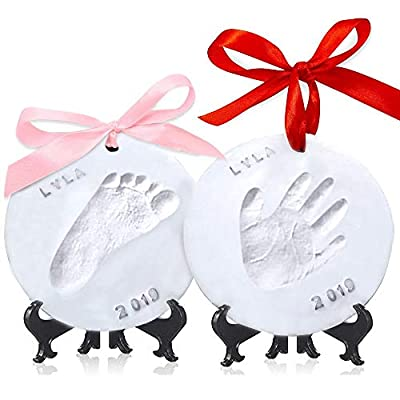 Baby Handprint Footprint Ornament Keepsake Kit - Personalized Baby Prints Ornaments For Newborn - Baby Nursery Memory Art Kit - Baby Shower Gifts For Baby Registry Boys Girls - Christmas Gift Ornament by KeaBabies