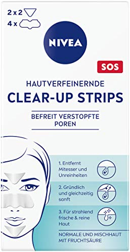 NIVEA hautverfeinernde Clear-Up Strips (6 Stück), Reinigungs-Strips für das Gesicht mit Fruchtsäure, entfernen Mitesser und Unreinheiten