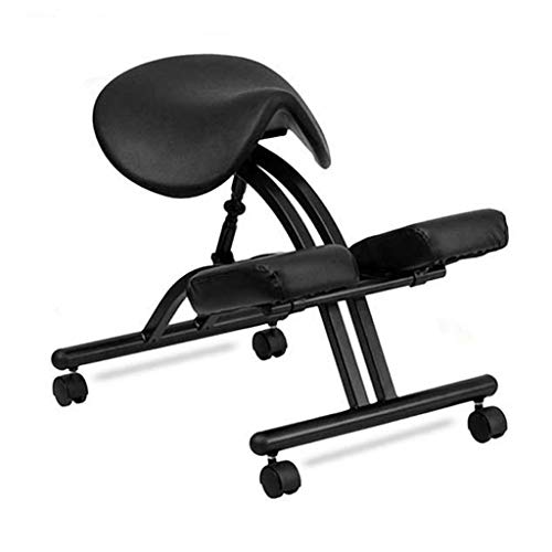 Ping Bu Qing Yun Ergonomic Kneeling Stools, Saddle Massage Stools and Reclining Seats Improve Your Posture, Neck Pain and Spinal Relief Kneeling Chair (Color : Black)