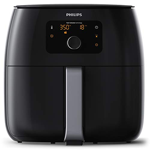 Philips Kitchen Appliances Digital Twin TurboStar Airfryer XXL, with Fat Removal Technology, 3 lbs, Black