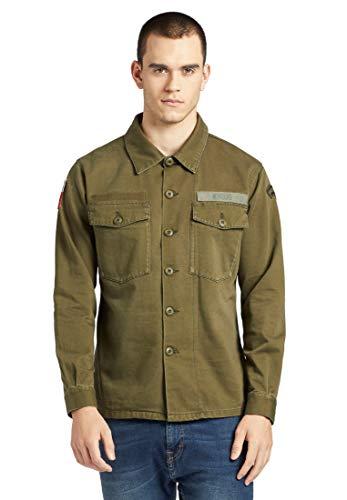khujo Herren Jacke USSAIN Military aus Reiner Baumwolle Hemdjacke im Military-Look mit Patches