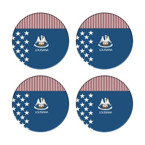 Posavasos para Bebidas,Bandera de Luisiana Americana,Manteles Individuales Redondos Reutilizables para la decoración...