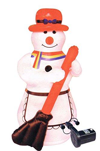 Beleuchteter Schneemann aufblasbar mit 3m Lichterschlauch Außen und Innen Regenbogen Schal Schwarze Mütze