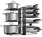 APPUCOCO Pot Pan Rack Organizer, 3 DIY Methods, Height and Position are Adjustable - 8 Pots Holder, Metal Kitchen Organiser Cabinet Pantry Pot Pan Lid Holder (Black)