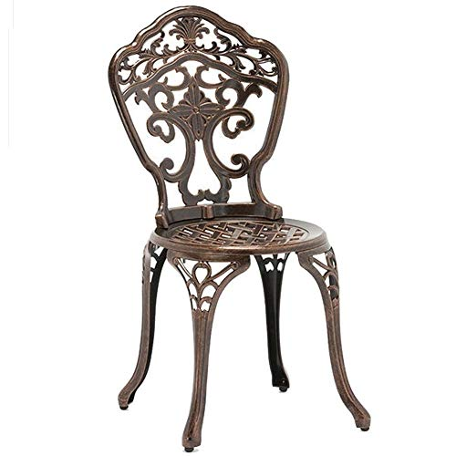 YSGLIFE 1pcs Orchid Chair Needs Assembly, Cast Aluminium Round Table and Chairs Outdoor Garden Patio Furniture Bistro Set(One Chair,No Tables)