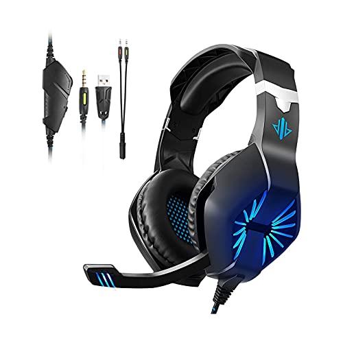 XTZJ Auriculares de juego para PC, sobre auriculares para juegos de oído con cancelación de ruido Cancelación de micrófono LED, sonido de graves estéreo, orejeras de memoria suave para teléfonos intel