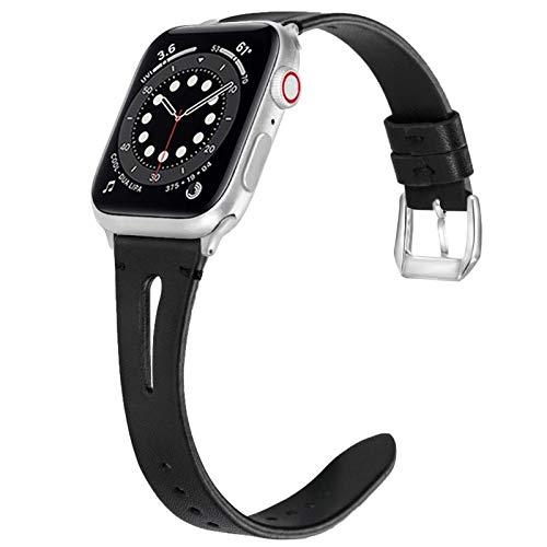 Miimall - Correa de reloj compatible con Apple Watch Serie 1, 2, 3, 4, 5, 6, SE, 40 mm, 38 mm, correa de piel para iWatch serie 1, 2, 3, 4, 5, 6, 38 mm, 40 mm, color negro