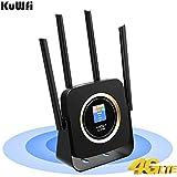 KuWFi Routeur Mobile 4G, Routeur Modem sans Fil 4G CPE WiFi SIM Router avec Batterie 3000Mah avec Antenna Externe